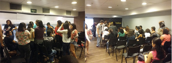 Equipes divididas em times para participar das dinâmicas. Foto: Bárbara Valdez