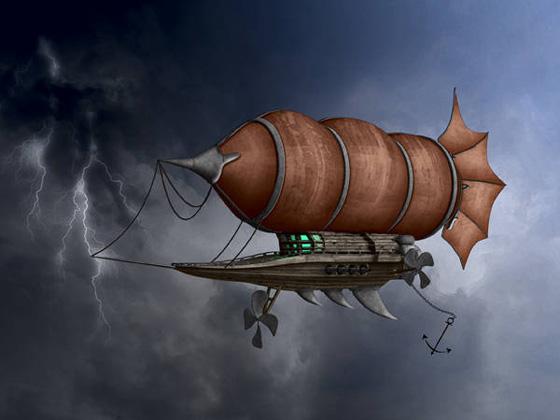 Como seria o dirigível que aparece várias vezes na história. Foto: Photoshoptuto.com